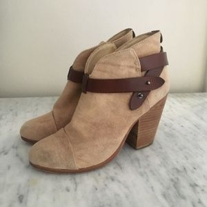 Rag and Bone harrow ankle booties camel canvas